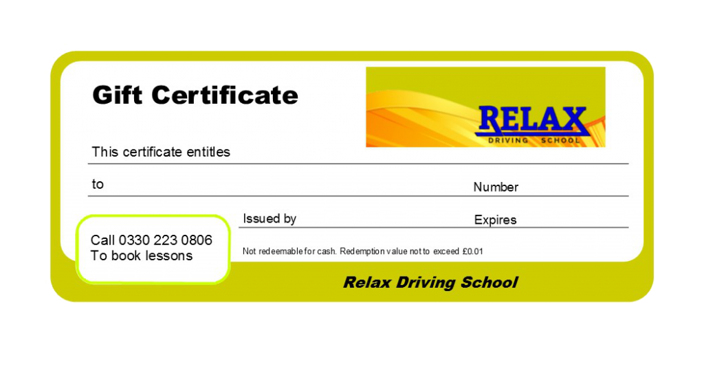 image of a gift voucher for driving lessons